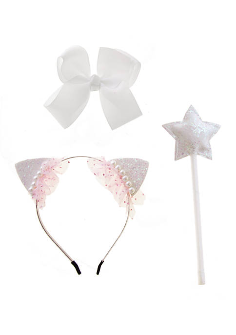 Toddler Girls Kitty Hairband Wand and Bow Set