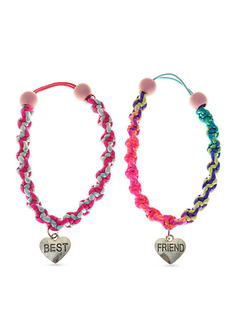 2-Pack Best Friend Bracelets with Heart Charm Set