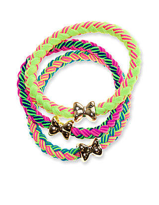 3 Pack Braided Bow Bracelets