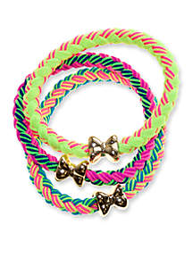 3-Pack Braided Bow Bracelets