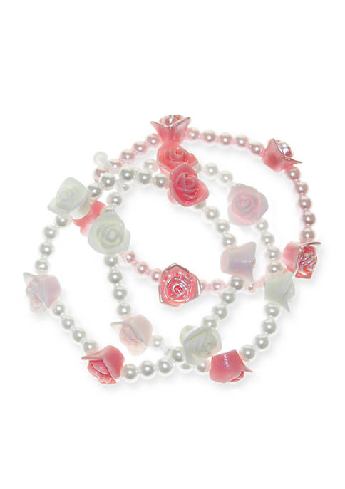 Riviera 3-Piece Pearl and Rosette Bracelet Set