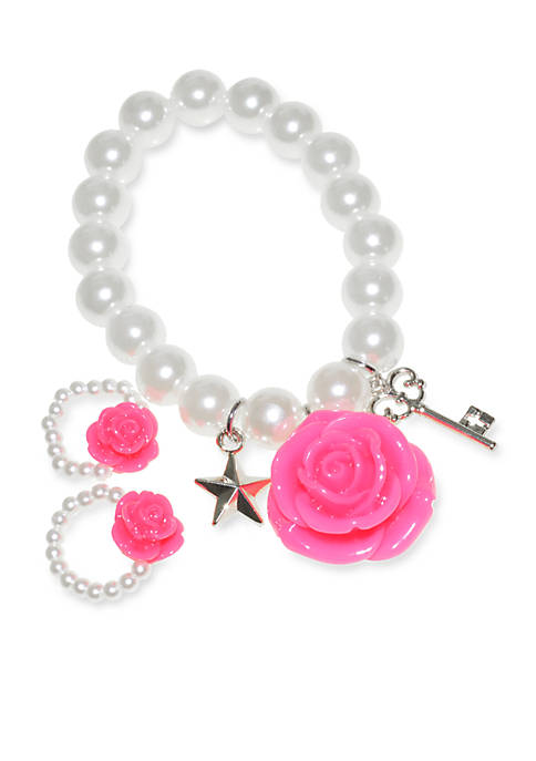 Riviera Charm Pearl Bracelet and 2-Pack Ring Set