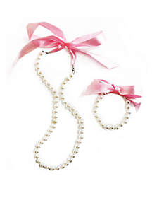 Pearl Necklace & Bracelet with Bow Closure Set