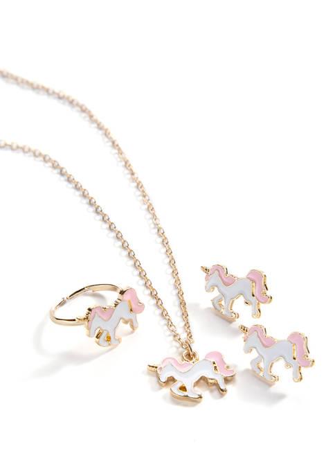 Girls Unicorn Necklace Set