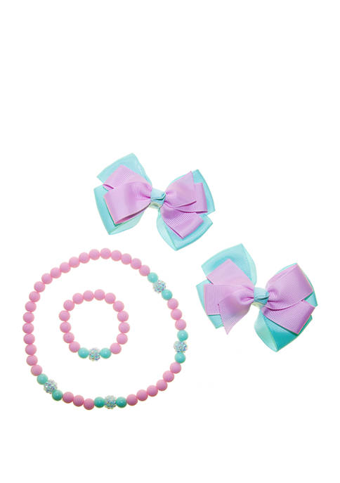Girls Necklace and Bracelet Set with Bows