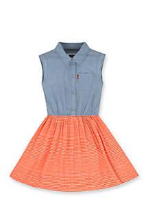 Beach Picnic Woven Dress Girls 4-6x