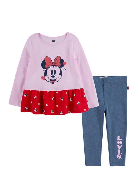 Levi's® Girls 4-6x Minnie Peplum T-Shirt and Leggings
