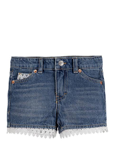 Levi's® Girls 4-6x Girlfriend Embellished Cuff Shorty Shorts