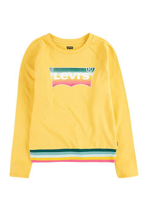 Girls 4-6x Stripe Trim Graphic T-Shirt