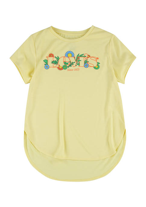 Girls 4-6x Short Sleeve High Low Hem Graphic T-Shirt