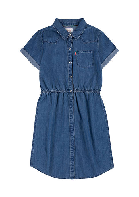 Levi's® Girls 7-16 Short Sleeve Collared Denim Dress