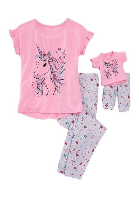 Girls 7-16 Unicorn Legging Doll Pajama Set