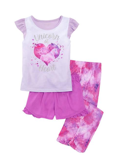 Girls 4-16 Unicorn at Heart 3 Piece Pajama Set