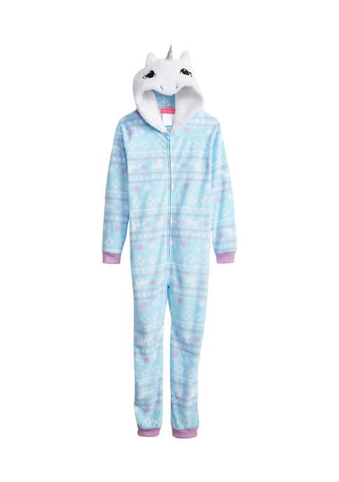 Girls 4-6x Hooded Unicorn One Piece Pajama