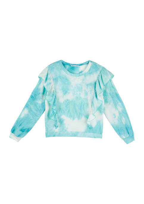 Beautees Girls 7-16 Long Sleeve Tie Dye Ruffle