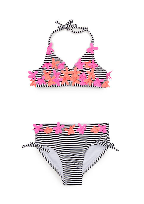 Cheap Flapdoodles Girls 4-6x Black & White 2-Piece Swimsuit free shipping