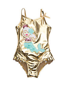 Flapdoodles Girls 2-6x Mermaid One Piece Swimsuit