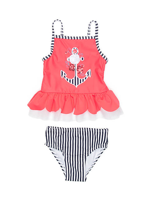 Flapdoodles Girls 2-6x Anchor 2 Piece Swimsuit