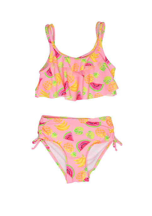 Flapdoodles Girls 2-6x Fruit Print Bikini Swimsuit