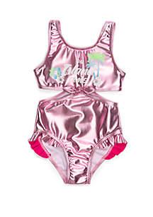 Flapdoodles Girls 2-6x Metallic One Piece Swimsuit