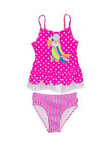 Flapdoodles Girls 2-6x Parrot 2 Piece Swimsuit