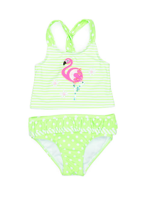 Flapdoodles Toddler Girls Flamingo 2 Piece Swimsuit