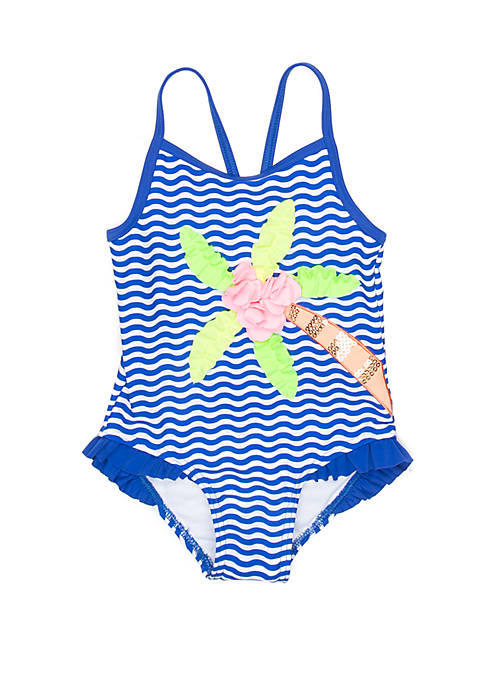 Flapdoodles Girls 2-6x Palm Tree One Piece Swimsuit