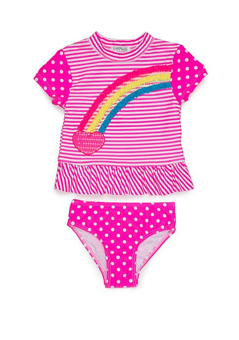 Flapdoodles Girls 2-6x Heart Rainbow Rash Guard Set