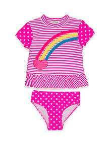 Flapdoodles Girls 2-6x Heart Rainbow Rash Guard Set