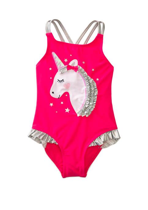 Flapdoodles Girls 4-6x Unicorn One Piece Swimsuit