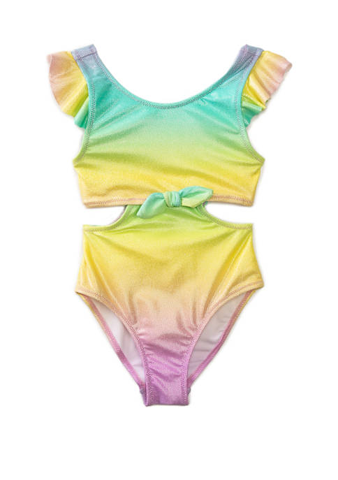 Flapdoodles Girls 4-6x Ombre Metallic One Piece Swimsuit