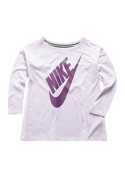 Nike® Girls 4-6x Long Sleeve Graphic Top