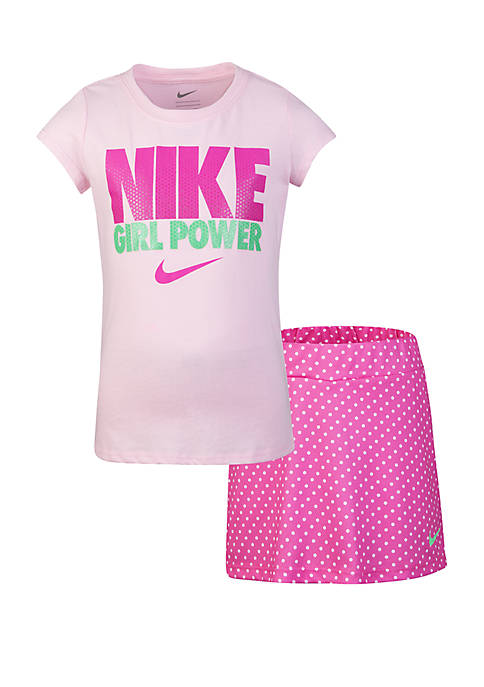 Girls 2-6x Tee and Scooter Skirt Set