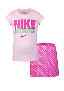 Nike® Girls 2-6x Tee and Scooter Skirt Set