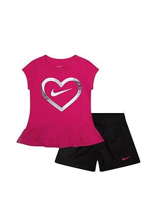 b229c0485 Nike® Girls 2-6x Heart Short Sleeve Tee and Mesh Shorts Set | belk