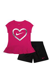 6f81b765927 ... Nike® Girls 2-6x Heart Short Sleeve Tee and Mesh Shorts Set