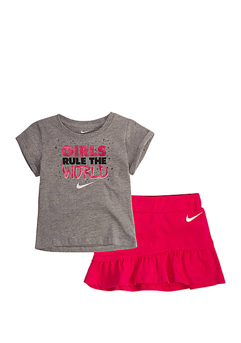 Girls 2-6 Rule the World Short Sleeve Tee and Scooter Set