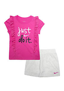 346fe3b5bcb ... Nike® Girls 2-6 Mesh Short Sleeve Tee and Scooter Set