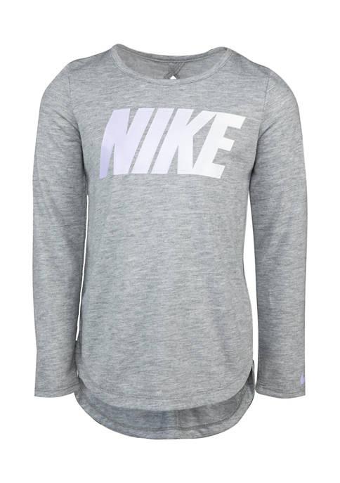 Girls 4-6x Long Sleeve Keyhole High Low Graphic T-Shirt