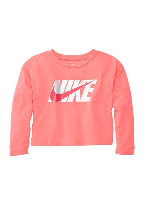 Girls 4-6x Metallic Logo Long Sleeve Box T-Shirt