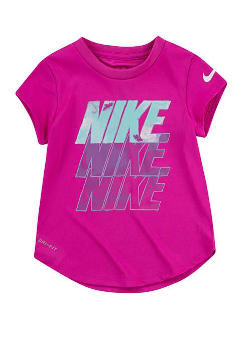 Nike® Girls 4-6x Short Sleeve Block Stack T-Shirt