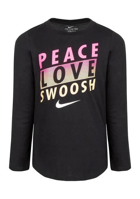 Nike® Girls 4-6 Peace, Love Swoosh T-Shirt