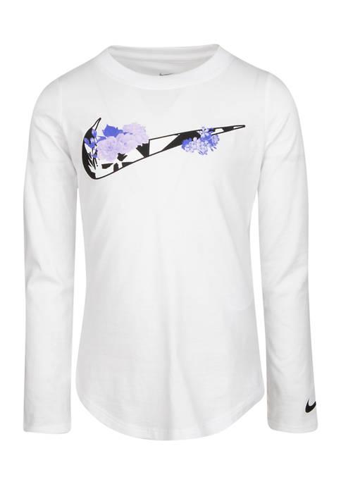 Nike® Girls 4-6x Long Sleeve Printed Check T-Shirt