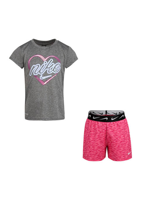 Nike® Girls 4-6x Short Sleeve Top and Space