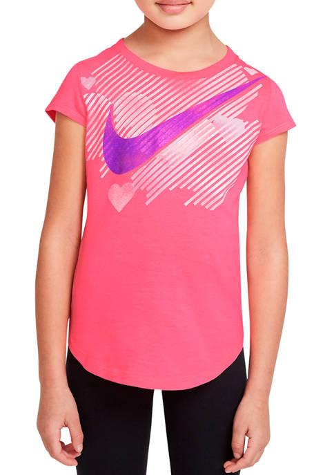 Girls 4-6x Stamped Swoosh Heart Graphic T-Shirt