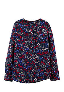 Girls 4-8 Floral Twill Top