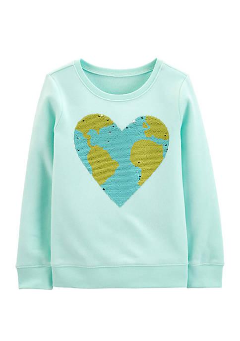 OshKosh B'gosh® Girls 4-8 Flip Sequin Earth Pullover