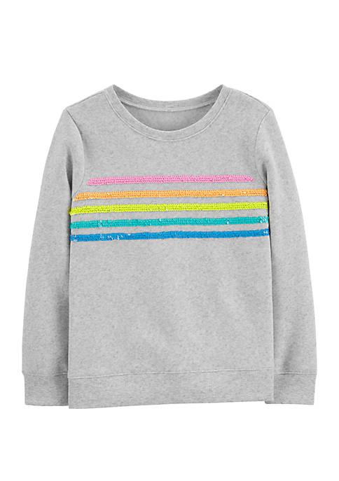 OshKosh B'gosh® Girls 4-8 Flip Sequin Rainbow Pullover