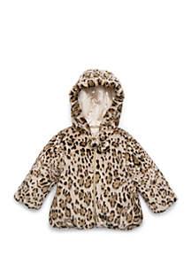 Girls 2-6x Wild Cat Faux Fur with Pom Pom Jacket