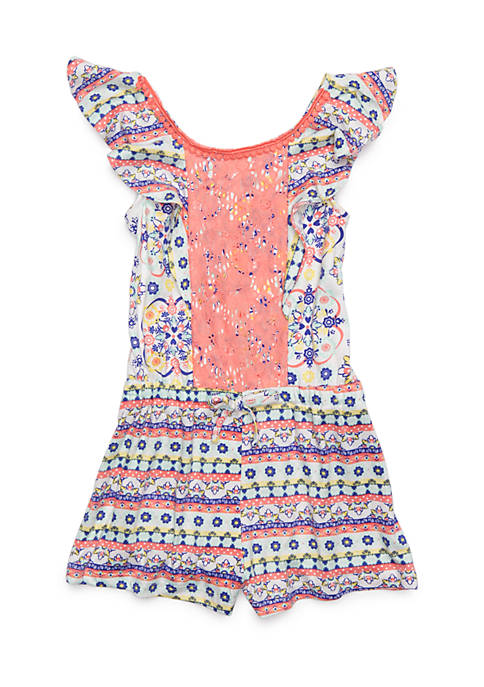 Nannette Knit Lace Front Romper Girls 4-6x